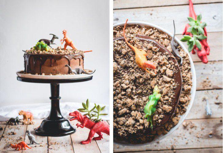 tarta de cumpleaños con dinosaurios