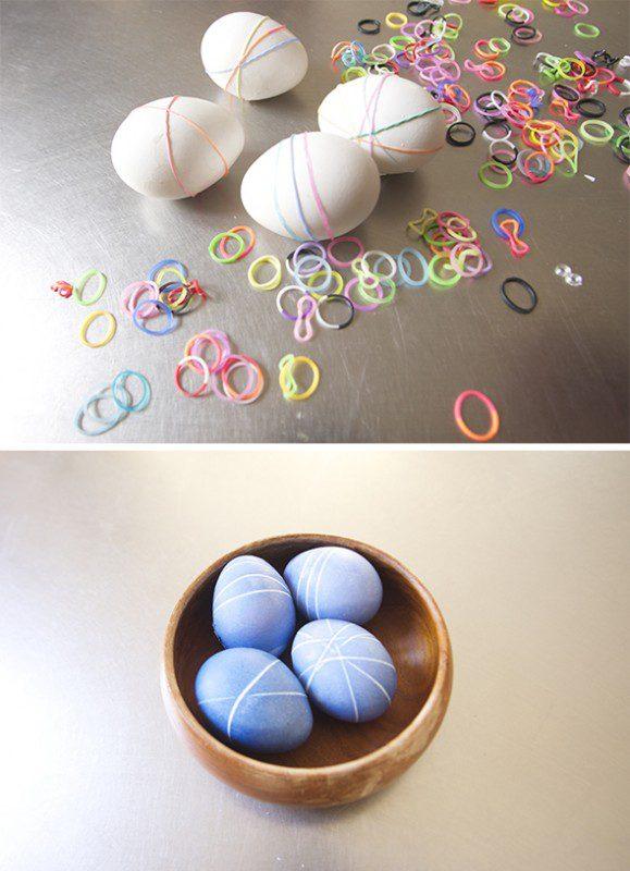 teñir huevos de pascua con gomitas elásticas