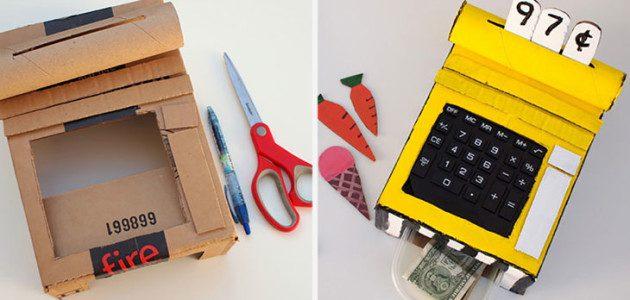 5 juguetes con cajas de cartón para niños