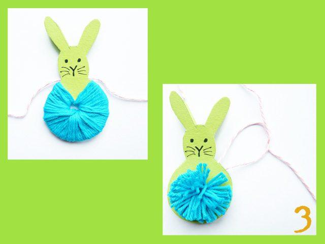 adorables pompones de animales para decorar pascua conejo
