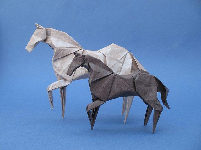 animales con papel origami niños caballos