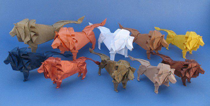 animales con papel origami niños leones
