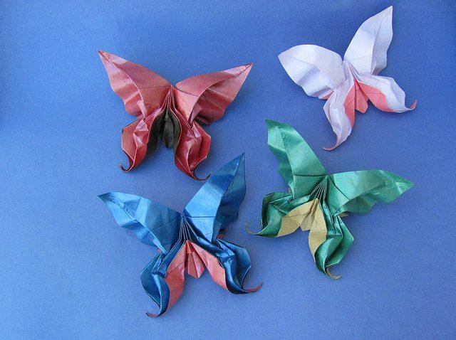 animales con papel origami niños mariposas