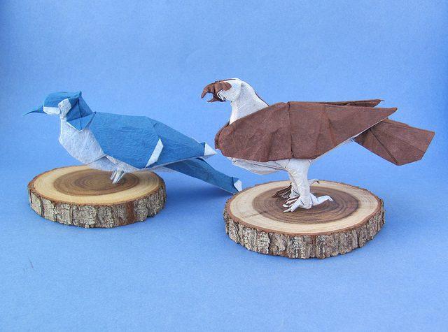 animales con papel origami niños pajaros