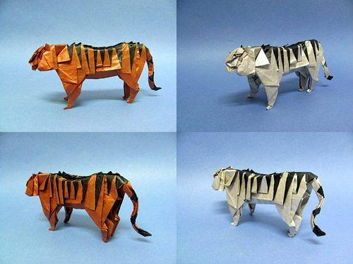 animales con papel origami niños tigres