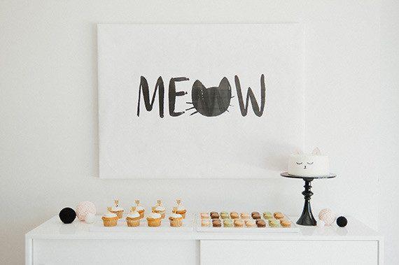 fiesta de cumpleaños infantil de gatitos mesa dulce