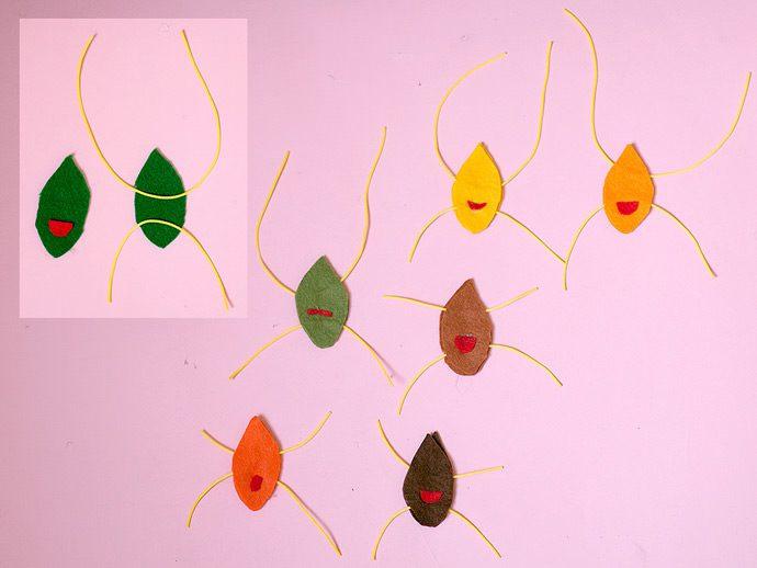 móvil de hojas trapecistas manualidad con fieltro