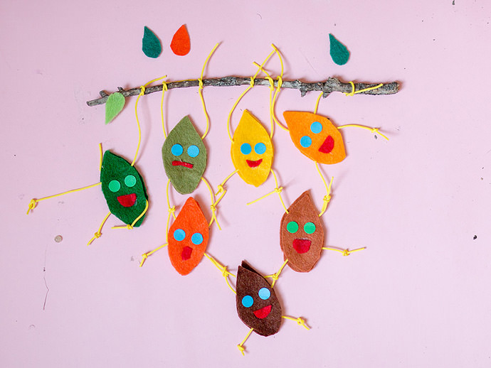 móvil de hojas trapecistas manualidad infantil