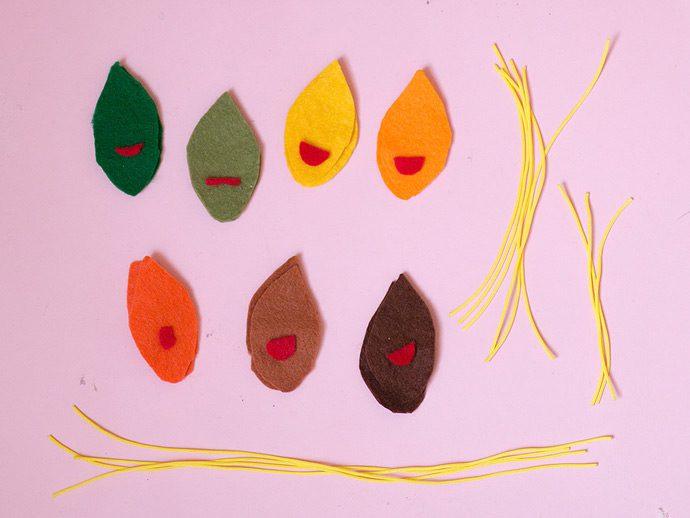 móvil de hojas trapecistas manualidad muy original