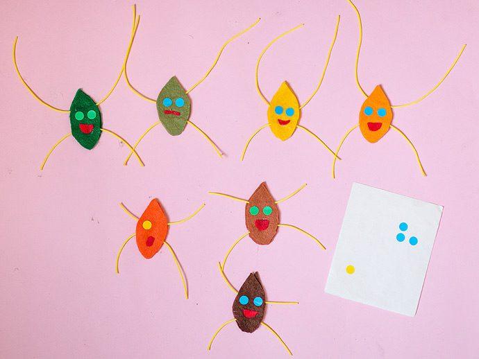 móvil de hojas trapecistas manualidad para niños