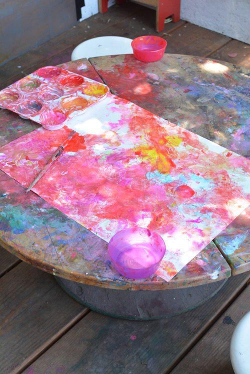 actividad infantil muy crativa con globos y pinturas