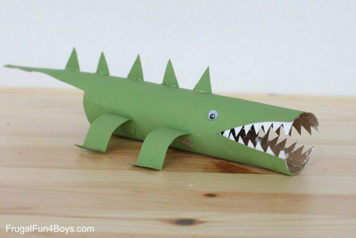 animales con tubos de papel como hacer el cocodrilo