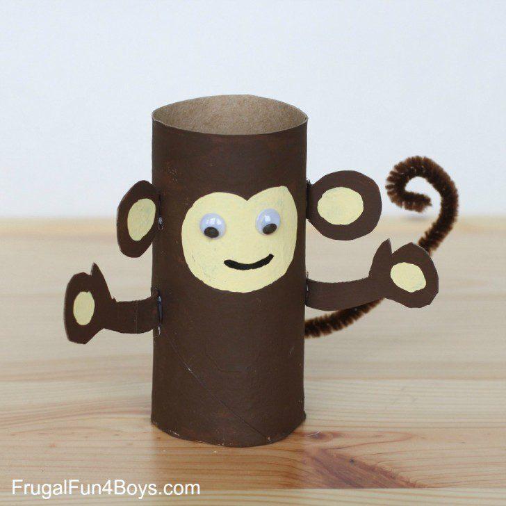 animales con tubos de papel monito