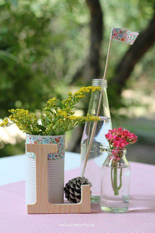 centro de mesa primera comunion rustica rosa