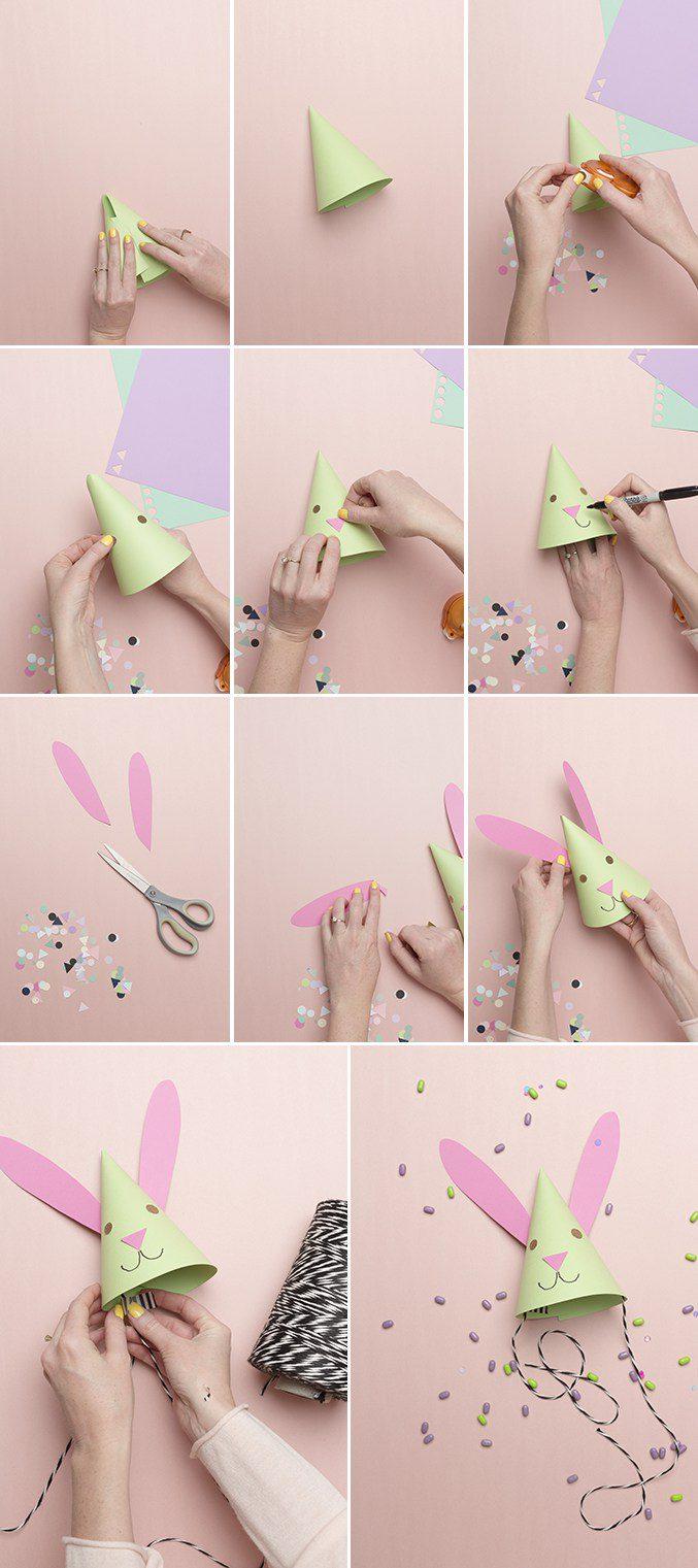 como hacer los gorritos de fiesta de conejos