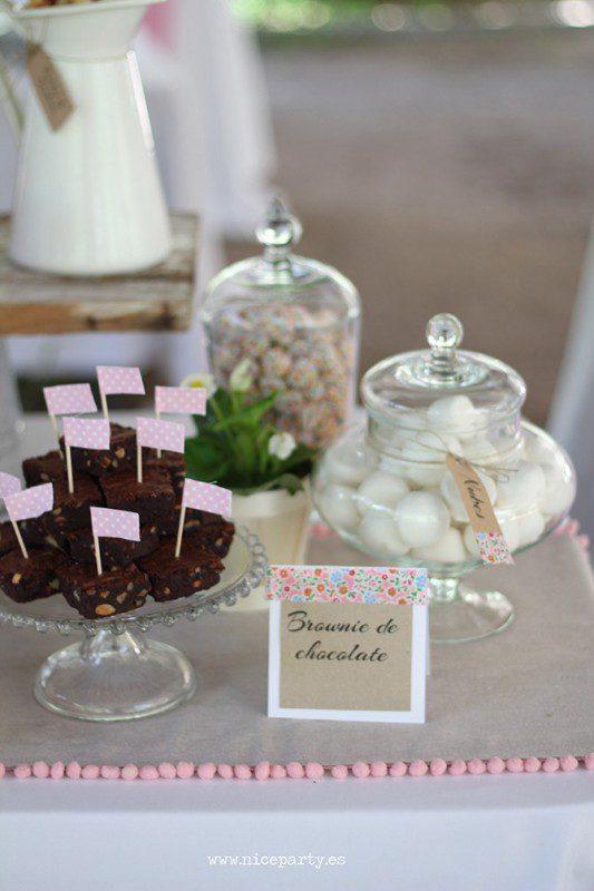 mesa dulce de primera comunion rustica rosa
