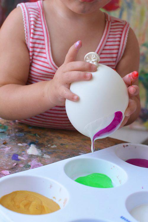 pintura artística con globos para niños