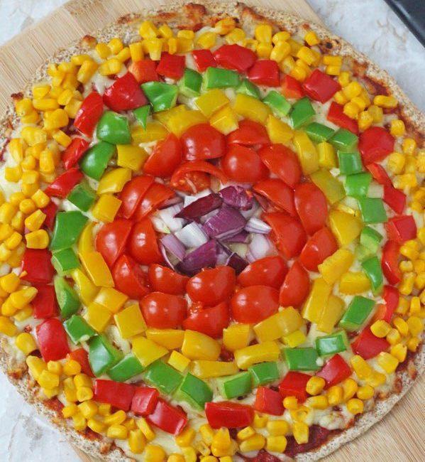 Receta de la Pizza Arco Iris