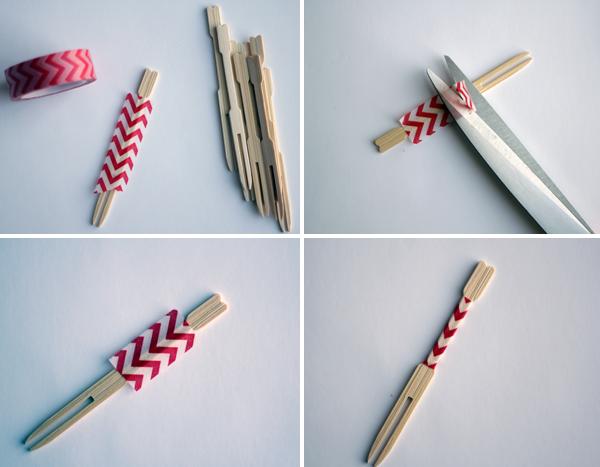 cómo hacer los pinchos de fruta de diseño con washi tape