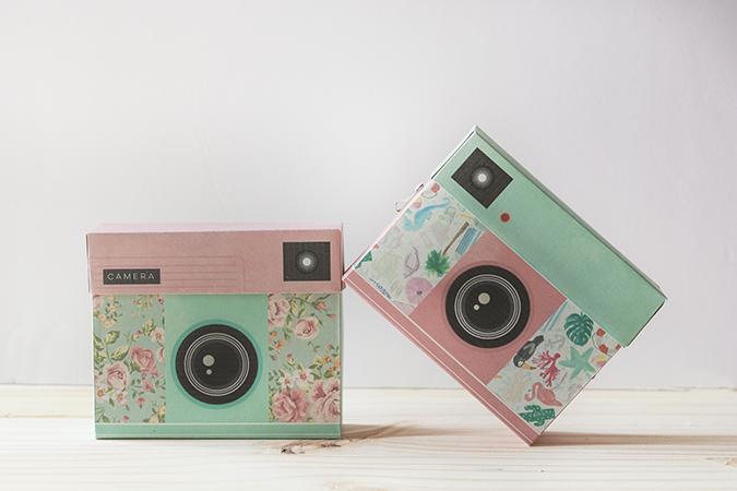 cajas con forma de cámara de fotos DIY como se hace