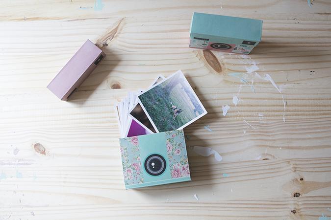 cajas con forma de cámara de fotos DIY original