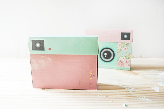 cajas con forma de cámara de fotos DIY paso a paso