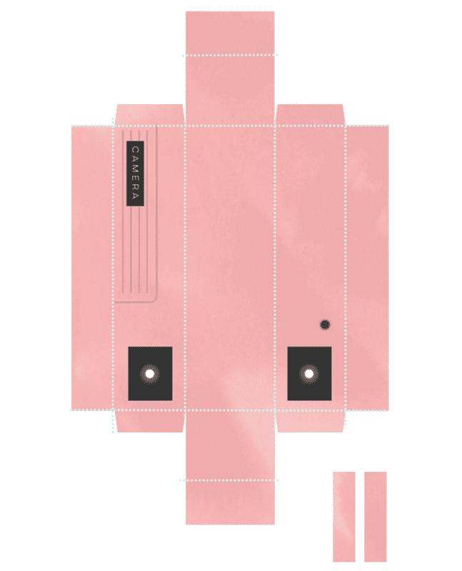 cajas con forma de cámara de fotos DIY rosa