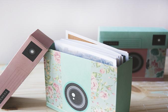 cajas con forma de cámara de fotos DIY