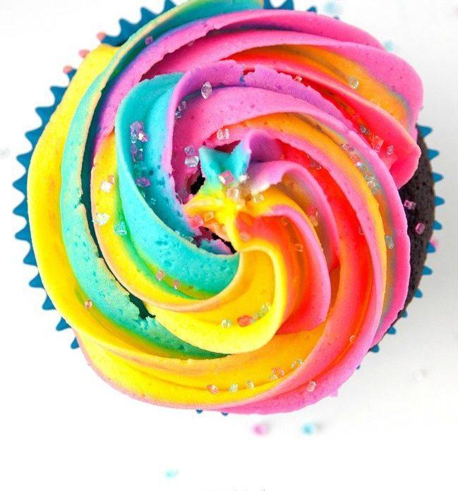 Receta del Cupcake Arcoiris