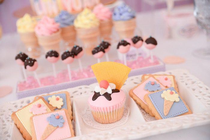 fiesta de helado para niños galletas
