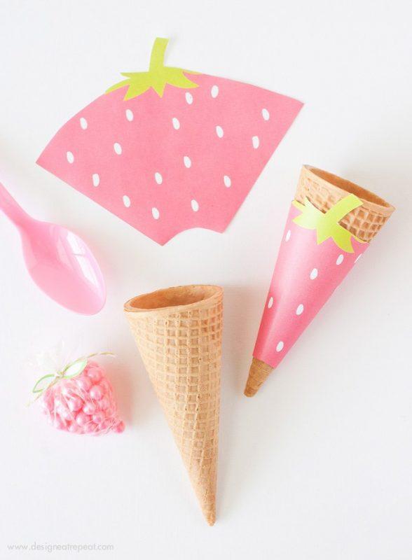 fiesta de la fruta envoltura para conos de helado