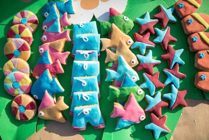 fiesta tropical en la playa galletas