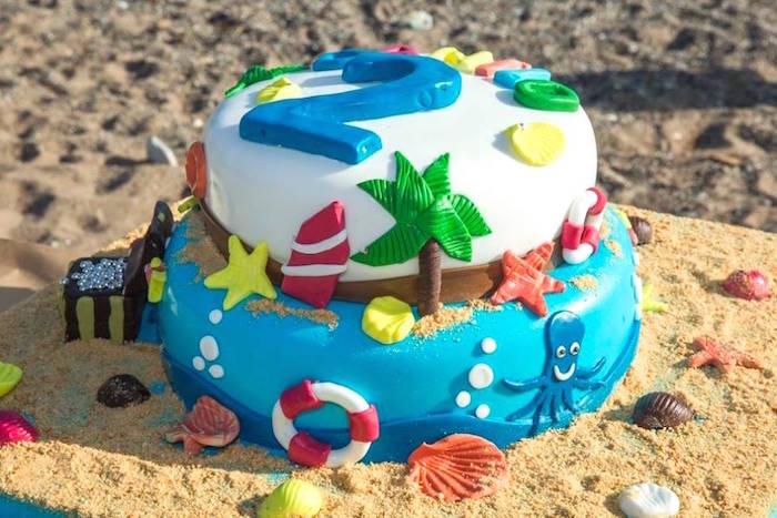 fiesta tropical en la playa tarta
