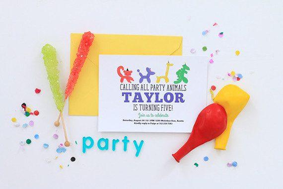 fiesta de animales y globos para niños invitaciones