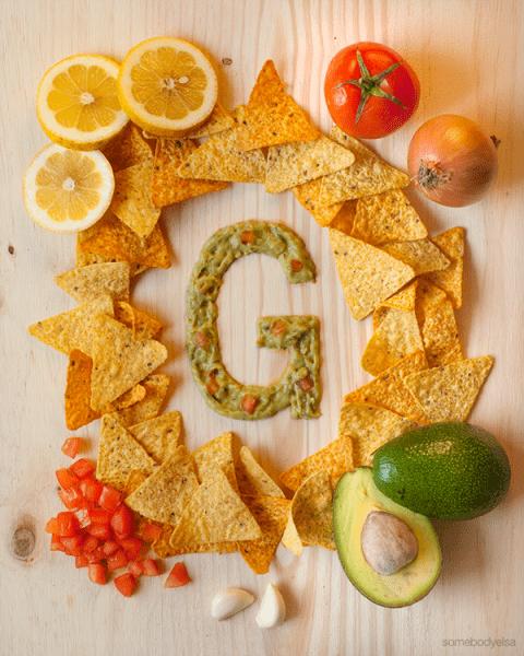 g - alfabeto de comida para niños