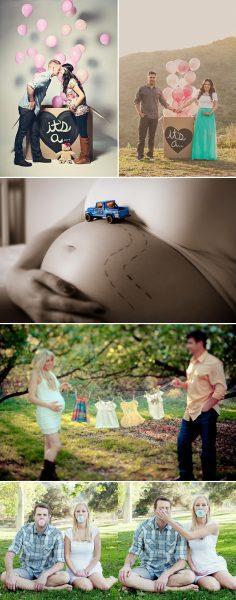 ideas para hacerse fotos durante el embarazo y decir el sexo del niño