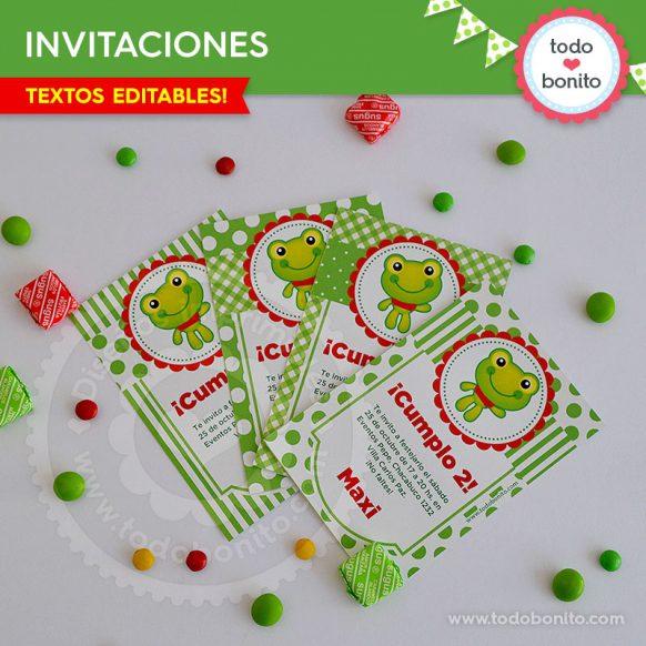 invitaciones de cumpleaños en color verde