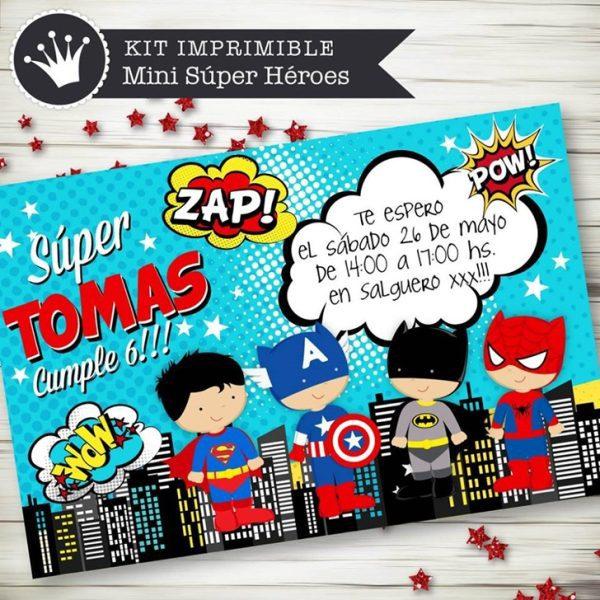 kit imprimible invitacion superheroe