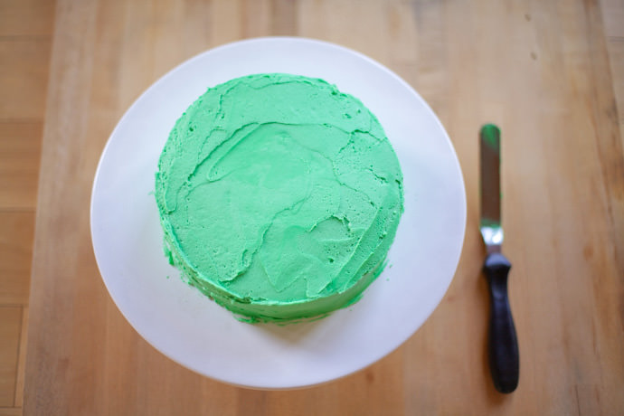 Receta de la Tarta Ranita_Frosting para cubrir con crema de vainilla verde