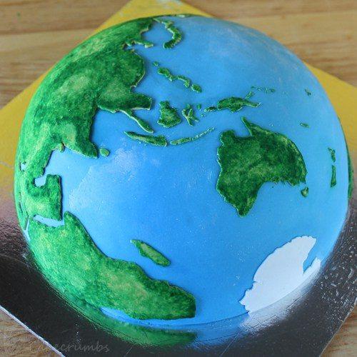 Receta de la Tarta para niños con forma de Planeta Tierra. Resultadojpg