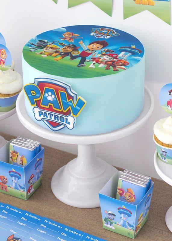 fiesta de la patrulla canina con imprimibles y recortables tarta