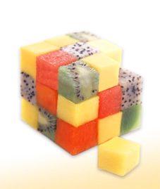 cubo de rubik con frutas para niños