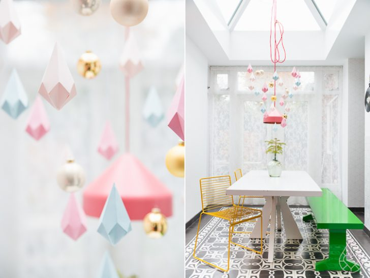 diamantes de papel para decorar una lámpara