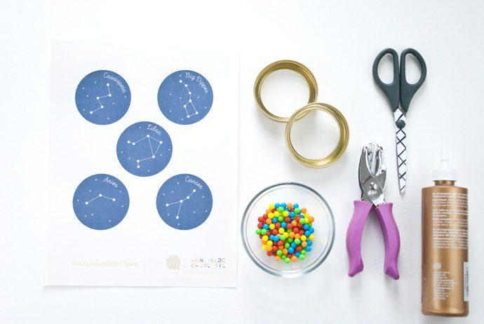 constelación de caramelos materiales