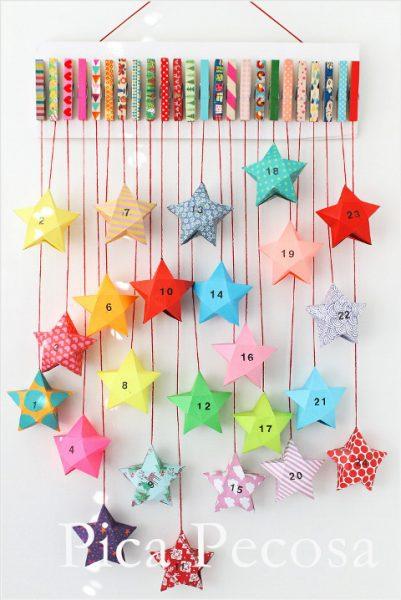 Calendarios de Adviento Casero hecho con Pinzas