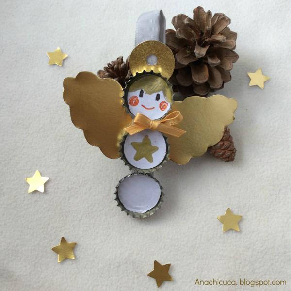 Manualidades Recicladas para Navidad: Ángel con Chapas