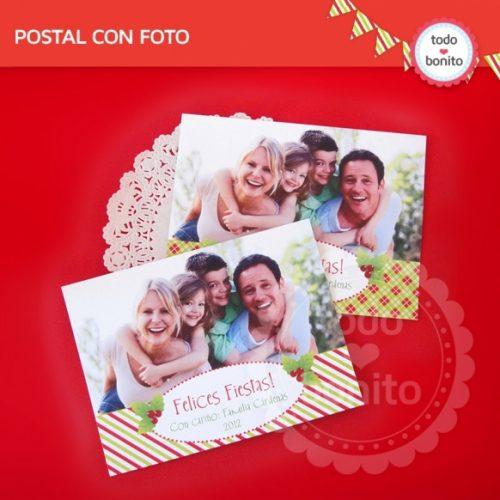 navidad-verde-y-rojo-postal-con-foto