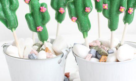 Piruletas de chocolate con forma de cactus