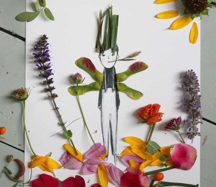 Decorar dibujos infantiles con naturaleza: idea creativa