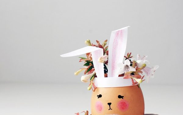 DIY de decoración: floreros de conejitos con cáscara de huevo